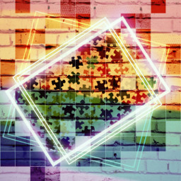 puzzlepieces puzzle rainbow colorful brickwall grideffect screenblend bright puzzlepiece puzzles freetoedit srcpuzzlebackground puzzlebackground