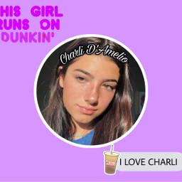 charlidamelio charli damelio purple dunkin freetoedit