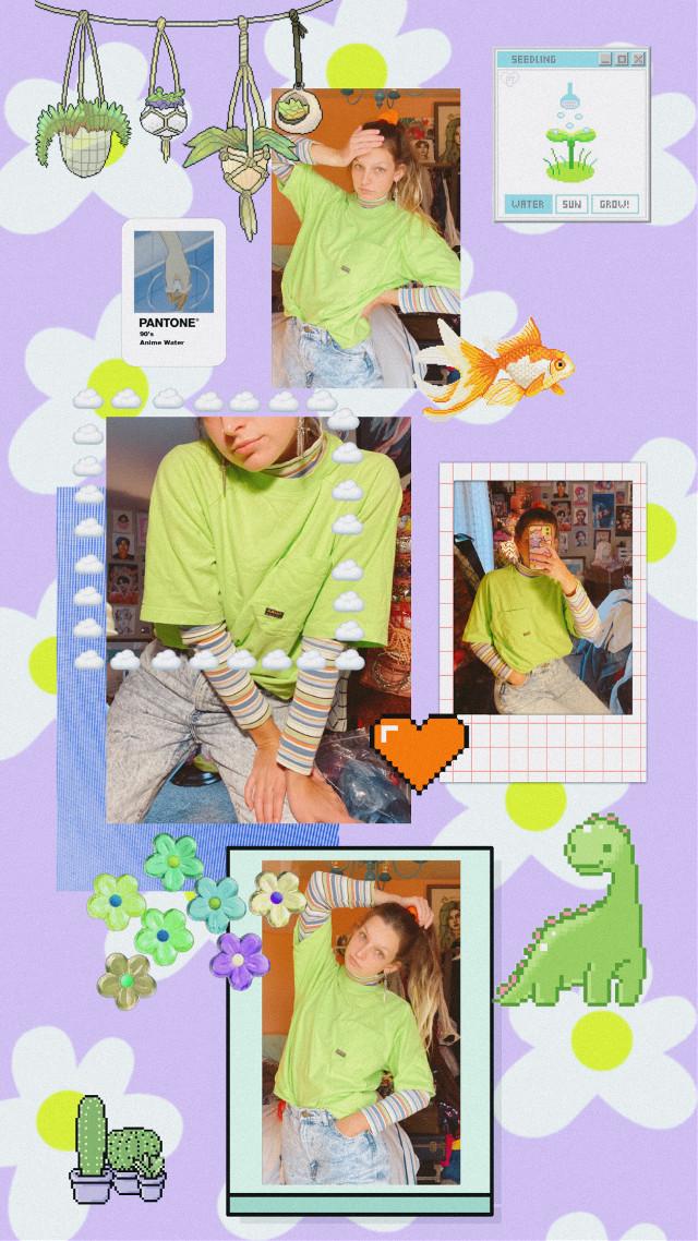 neon vibes 🌵🍃🍊 @kittylouu on insta ! #interesting #art #ootd #fashion #pixelart #collage #photography #wallpaper