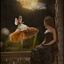 fantasy fantasyworld princess fairy mushroom night forest moon clouds fairytale dress tiara crown wings fairywings girls freetoedit