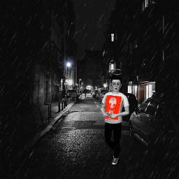 blackandwhite red night street freetoedit