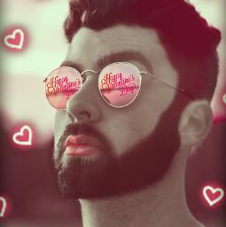 happyvalentinesday valentinesday valentine hearts love sunglasses roundglasses pink red pinkandred man boy beard pinkhearts 40followers thankyou freetoedit