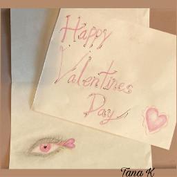 valentine love eye sketch pink rose red grey gray card art bytanakay bytanakayyt tanakayyt artbytana artbytanakay