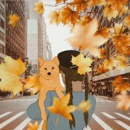 fall leaves fallmagic girlanddog doglover srcfancyberet fancyberet