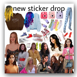 meangirls highschoolmusical heathers jeans polaroid sweatshirts hair curledhair socks earrings collage aestheticcollage fashion clothes disney actors actresses movies nichememe stickermaker freetoedit