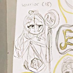 oc backstory art girl traditionalart drawing sketch outline warrior staff