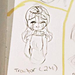 oc backstory art girl traditionalart drawing sketch outline traitor sad