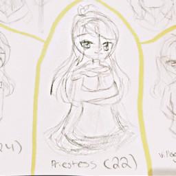 oc backstory art girl traditionalart drawing sketch outline priestess happy love