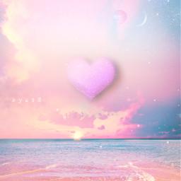 pink beach sky clouds heart freetoedit