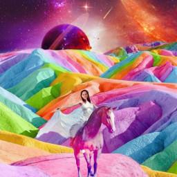 rainbow land landscape horse magical freetoedit