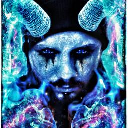 ice demon blue selfie portrait powerful freetoedit