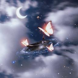 magic ship galaxy sky lights blinks beauty sea freetoedit