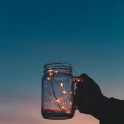 purple sunset jar fairylights freetoedit