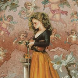 girl renaissance wall nostalgia freetoedit srccherubangels cherubangels