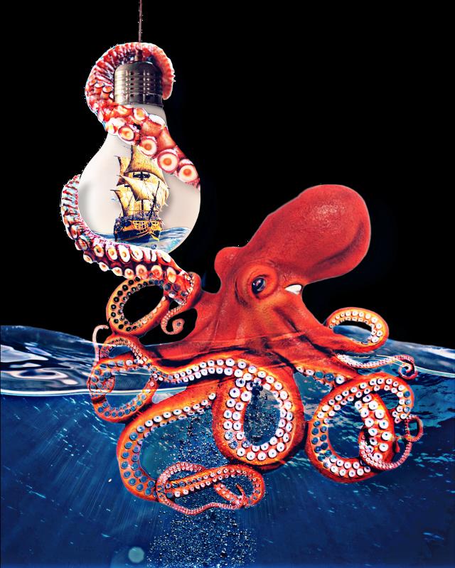 #lightbulb #imageremixchallenge #freetoedit #ship #octopus