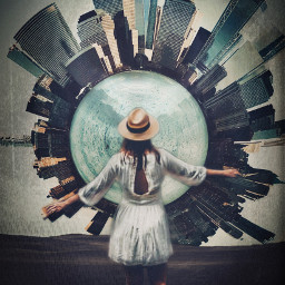 city cityscape skyscraper skyscrapers building buildings circle spiral planet tinyplanet tinyplaneteffect girl lady woman dress hat standing walking world interesting surreal surrealism freetoedit