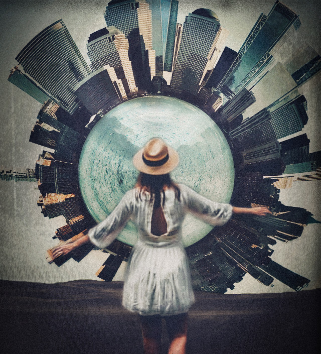 #city #cityscape #skyscraper #skyscrapers #building #buildings #circle #spiral #planet #tinyplanet #tinyplaneteffect #girl #lady #woman #dress #hat #standing #walking #world #interesting #surreal #surrealism