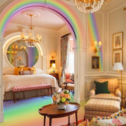 freetoedit rainbow rainbows house intrior colors colorful light sofa bed mirror purple led red flowers roses lamp vintage curtains