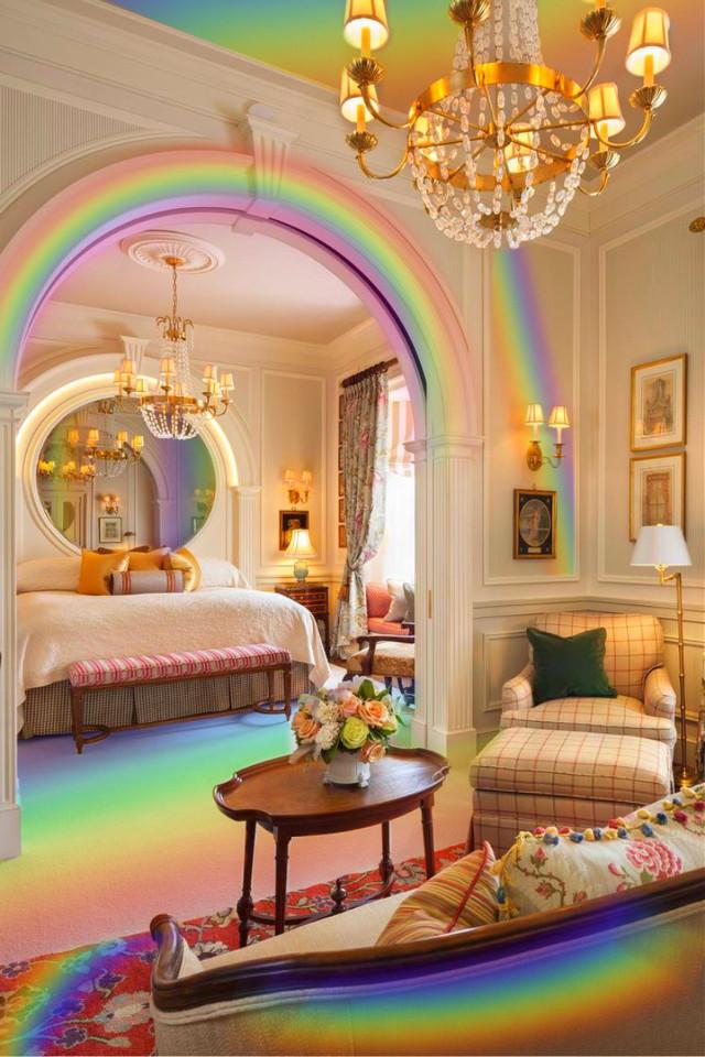 #freetoedit #rainbow #rainbows #house #intrior #colors #colorful #light #sofa #bed #mirror #purple #led #red #flowers #roses #lamp #vintage #curtains