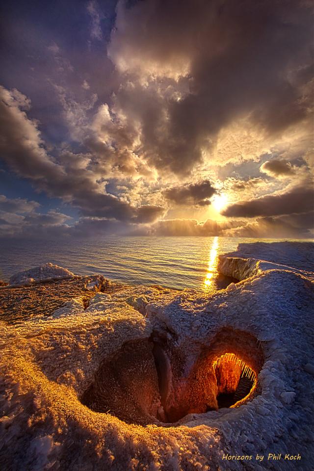 """ This Is The Day The Lord Has Made "" - Sunrise on the shore of Lake Michigan in Kenosha, Wisconsin. Horizons by Phil Koch. #freetoedit #remixit #nature #landscapephotography #beauty #pretty #landscape #beautiful #follow #fanart #peace #happytaeminday #popular #folow4follow #followme #love #art #winter #snow #lakemichigan #wisconsin #water #frozen"