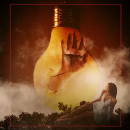 girl hand clouds surreal aesthetic artistic madewithpicsart freetoedit irclightbulb lightbulb