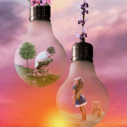 challenge boyandgirl kids love sunset freetoedit irclightbulb lightbulb