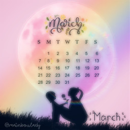 moon rainbow march mom momanddaughter flowers pink butterfly silhouette freetoedit srcmarchcalendar2021 marchcalendar2021