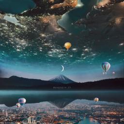 picsart myedit myremix surreal freetoedit sky photomanipulation photoart fxeffects nightlife blending