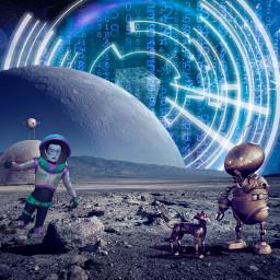 space planet robot austronaut austronout matrix dimension base freetoedit