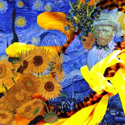 vincentvangogh artist editit fanart artography expressionism vangogh freetoedit stickerremix artographybypamela artworks starrynight irisflower irises flowersinvase sunflowers sun_flower sunflowerremix greatartist