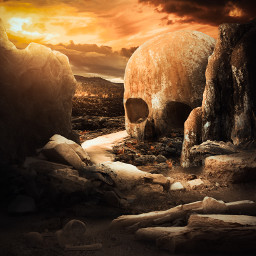 365world skull death dead rotting valley nature sun sunrise rocks boulders skeletons bones