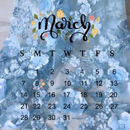 marchcalendar2021 marchcalendar blue flowers aesthetic 2021 srcmarchcalendar2021 freetoedit