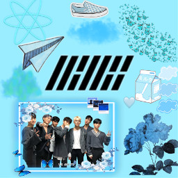 ikonkpop asthetic blue kpop freetoedit