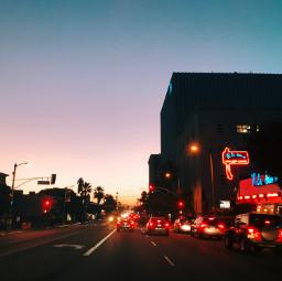 street road dawn sky lights sunrise sun blue pink city urban diner light sunset night morning dusk evening day black dark car cars boulevard freetoedit