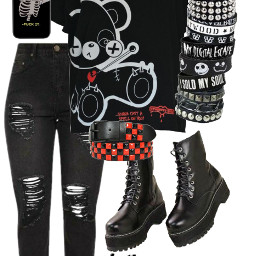emo polyvore black red clothes outfit collage freetoedit