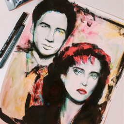 drawing watercolor ink theprometeus acrylic thexfiles freetoedit