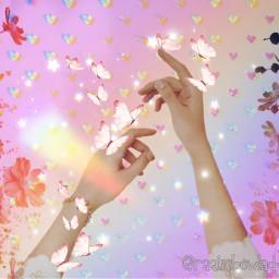 doubleexposure butterfly destellos rainbow prismeffect prismlights hearts cute freetoedit ircbeautyofhands