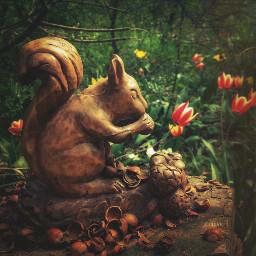 fairyforest spring squirrel tulips hazelnuts scoiattolo