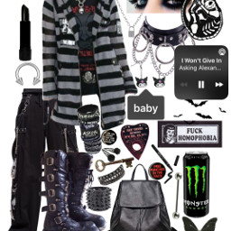 emo aesthetic black polyvore outfit collage freetoedit