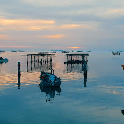 sunset sea mypic riflesso freetoedit