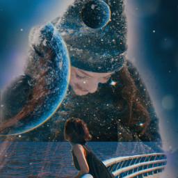myedit freetoedit girl doubleexposure galaxy planets fantasy dream