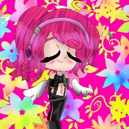 gachaclub fanart pink angel cute flowers