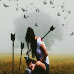 girl arrow birds death nature freetoedit
