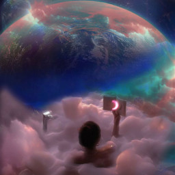 bath moon sky clouds pink space earth planets girl