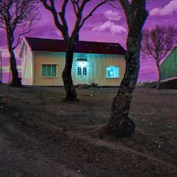 house cabin creepy colors colorful dark evening night madewithpicsart createfromhome freetoedit unsplash