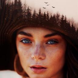 doubleexposure trees forest woman freetoedit