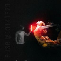 picsart freetoedit madewithpicsart surreal surrealisticworld girl blackandwhite red light
