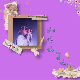 purple billieeilish flower newspaper tape rose stars gold freetoedit