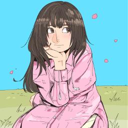 drawing girl spring freetoedit