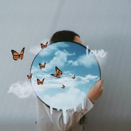 freetoedit clouds sky 3d girl